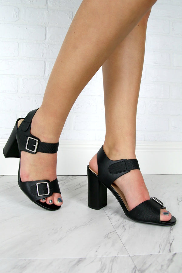 6 / Black Black Sling Back Block Heel - FINAL SALE - Madison and Mallory