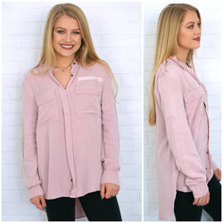 Pocket Front Button Down Hi-Lo Top - Madison + Mallory