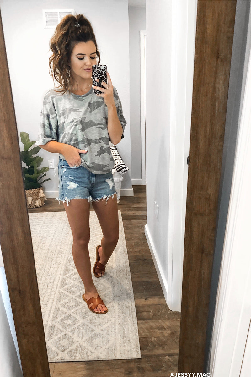When You Go Camo Print Pocket Top - Madison and Mallory