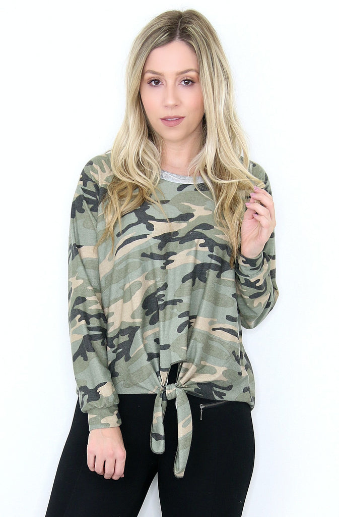 Camo Knot Front Long Sleeve Top