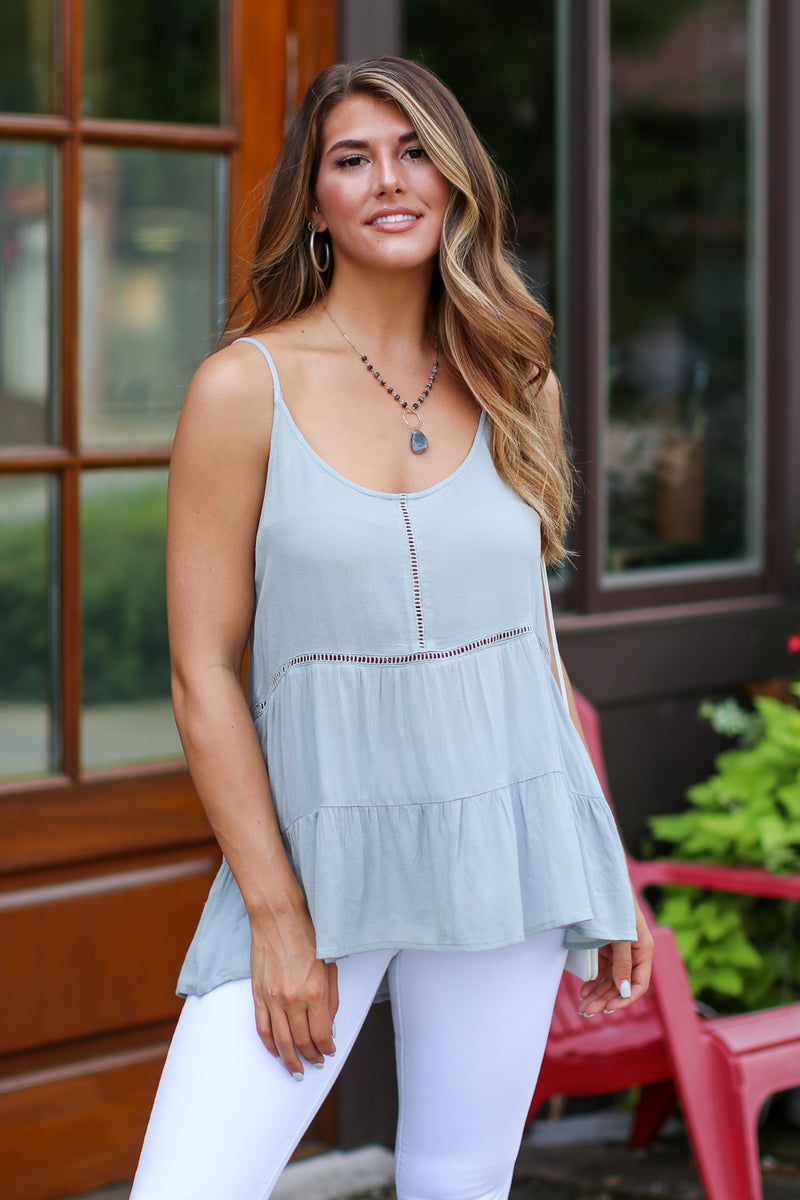 S / Slate Gray Annie Ladder Trim Crochet Top - FINAL SALE - Madison + Mallory