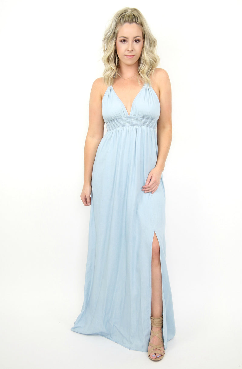 S / Light Denim Chambray Tassel Trim Maxi Dress - Madison + Mallory