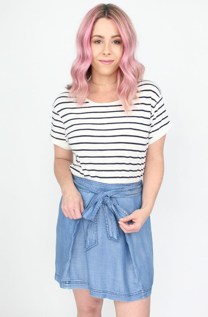 Tie Waist Chambray Skirt - Madison + Mallory
