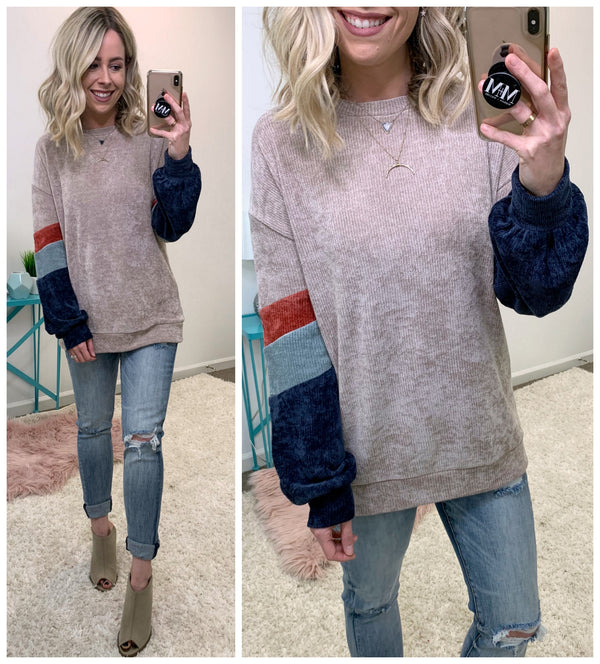 Eli Color Block Chenille Pullover - Madison + Mallory