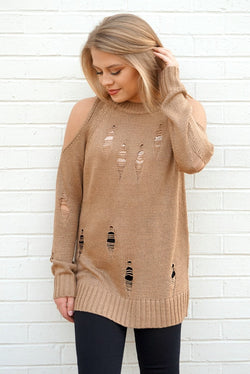S/M / Taupe Cold Shoulder Distressed Knit Sweater - Madison + Mallory