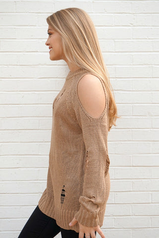 Cold Shoulder Distressed Knit Sweater