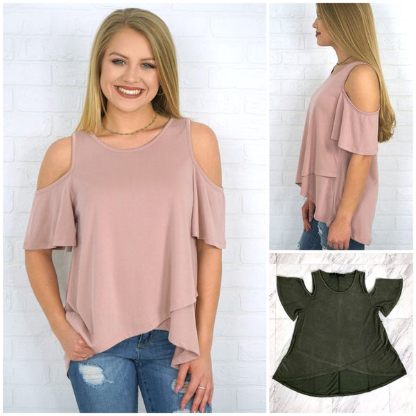 Flowy Overlay Cold Shoulder Top - Madison + Mallory