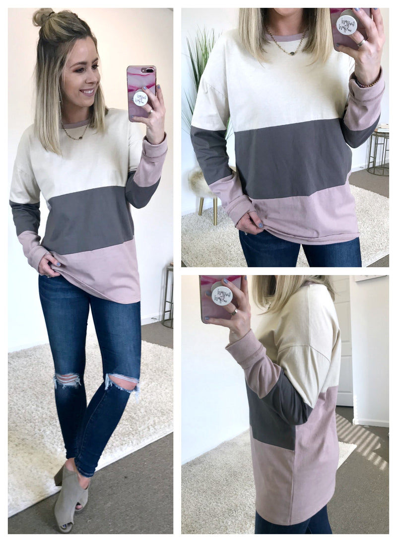 S / Ash Reese Color Block Top - Madison + Mallory