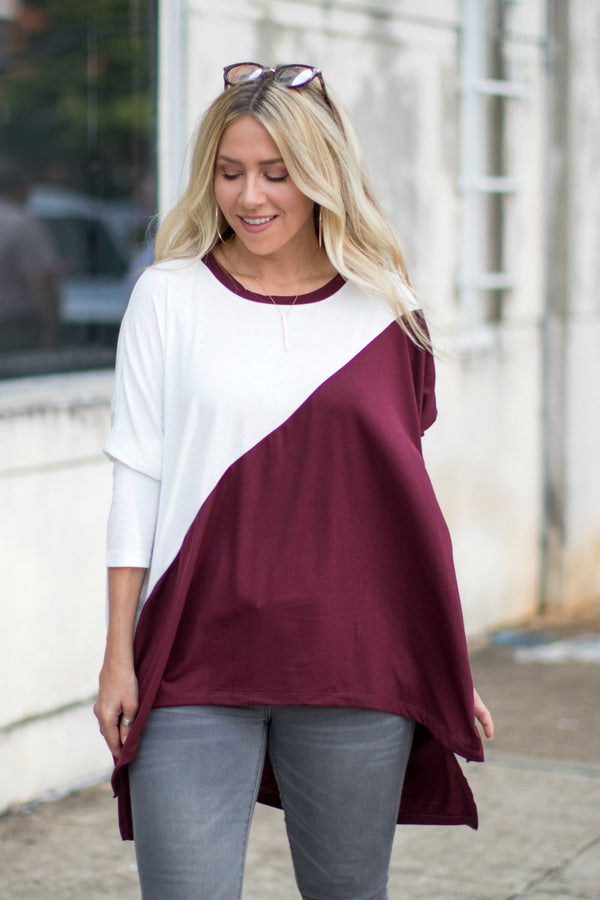 S / Burgundy Ahead of the Game Color Block | CURVE - Madison + Mallory