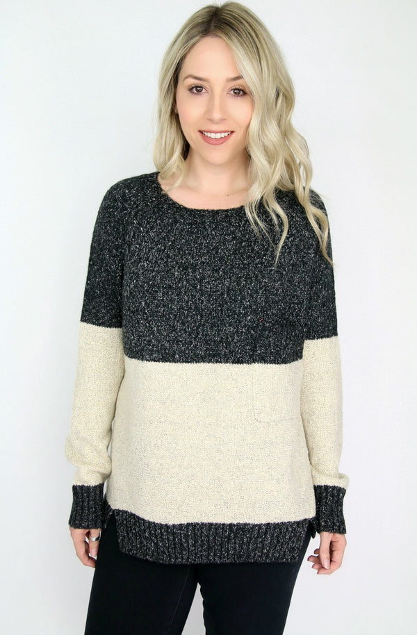 SM / Charcoal Colorblock Pocket Sweater - Madison + Mallory