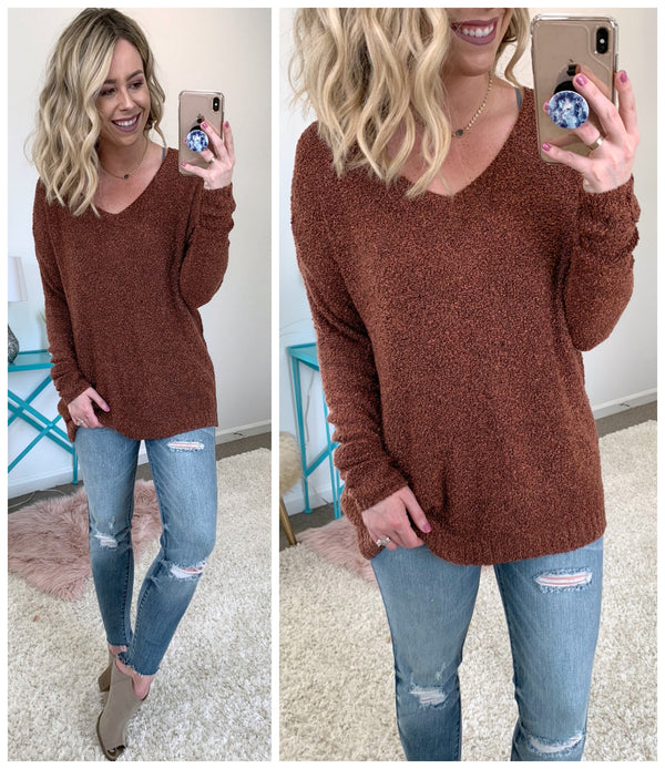 S / Rust Brielle Knit Sweater - Madison + Mallory