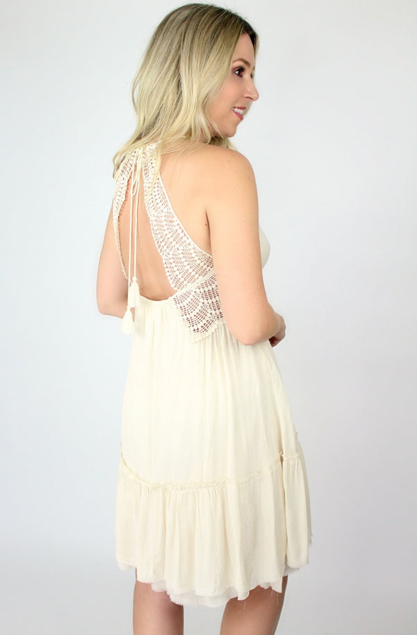 Lace Detail Ruffle Dress - Madison + Mallory