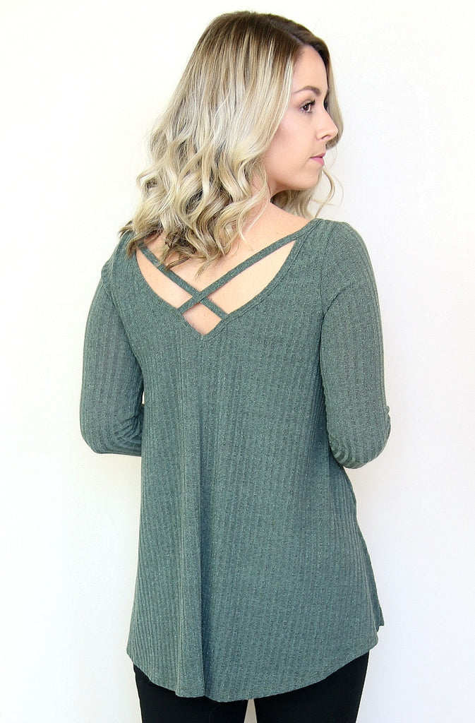 Olive Criss Cross Ribbed Knit Top