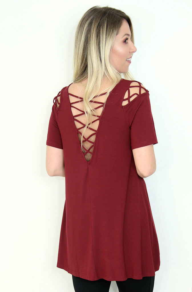 Cross Cold Shoulder Tunic Top