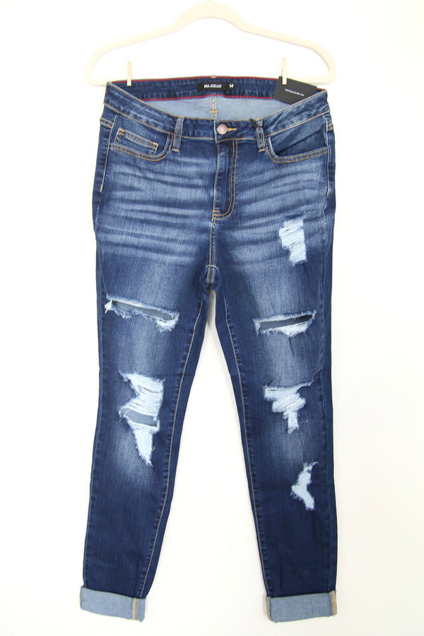 14 Vintage Wash Destroy Crop Skinnies - Madison + Mallory