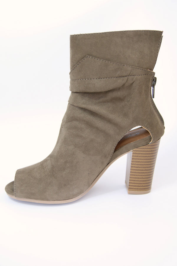 5.5 / DarkKhaki Faux Suede Peep Toe Bootie - FINAL SALE - Madison + Mallory