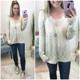 Cutout Knit Detail Sweater - Madison + Mallory