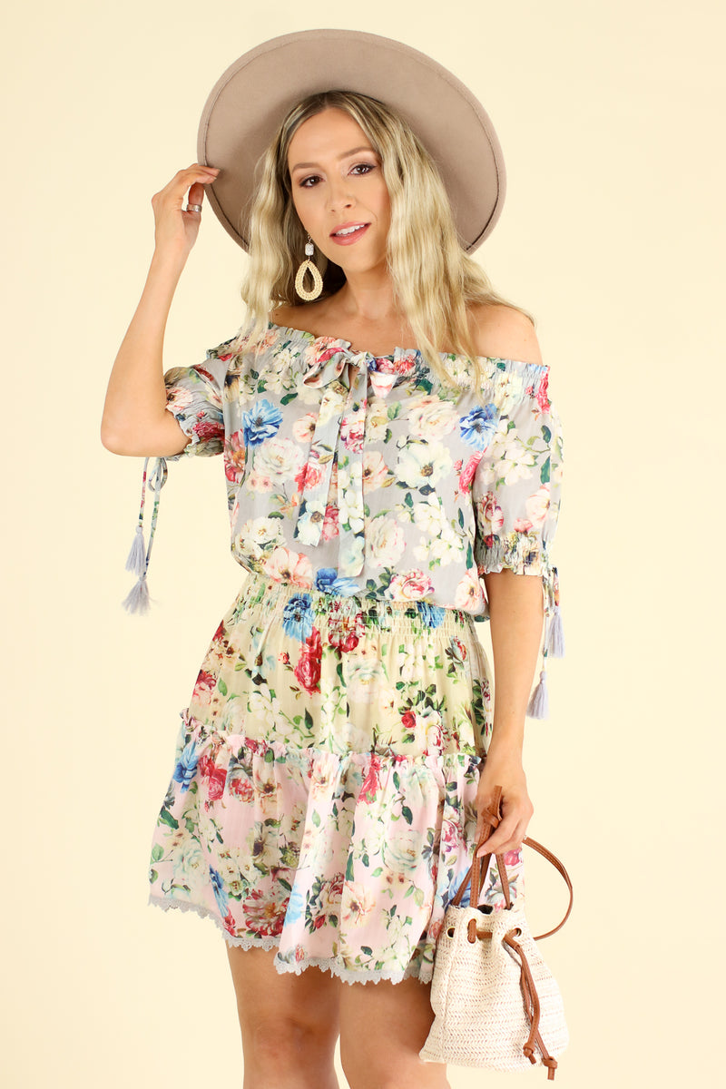 S / Light Gray Violetta Off Shoulder Floral Ruffle Dress - Light Gray - FINAL SALE - Madison and Mallory