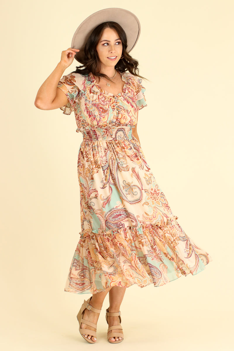 S / Brown Leota Paisley Flutter Sleeve Dress - Madison and Mallory