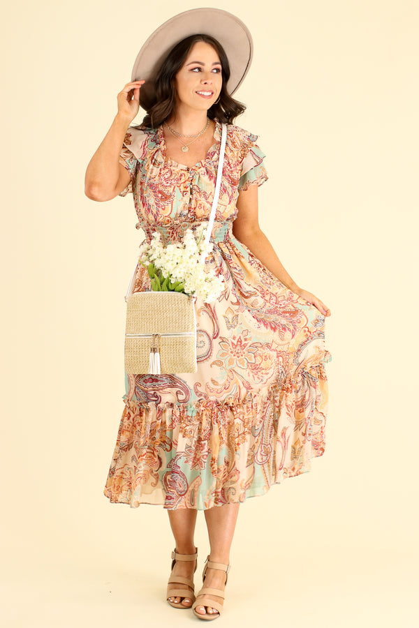 Leota Paisley Flutter Sleeve Dress - FINAL SALE - Madison and Mallory