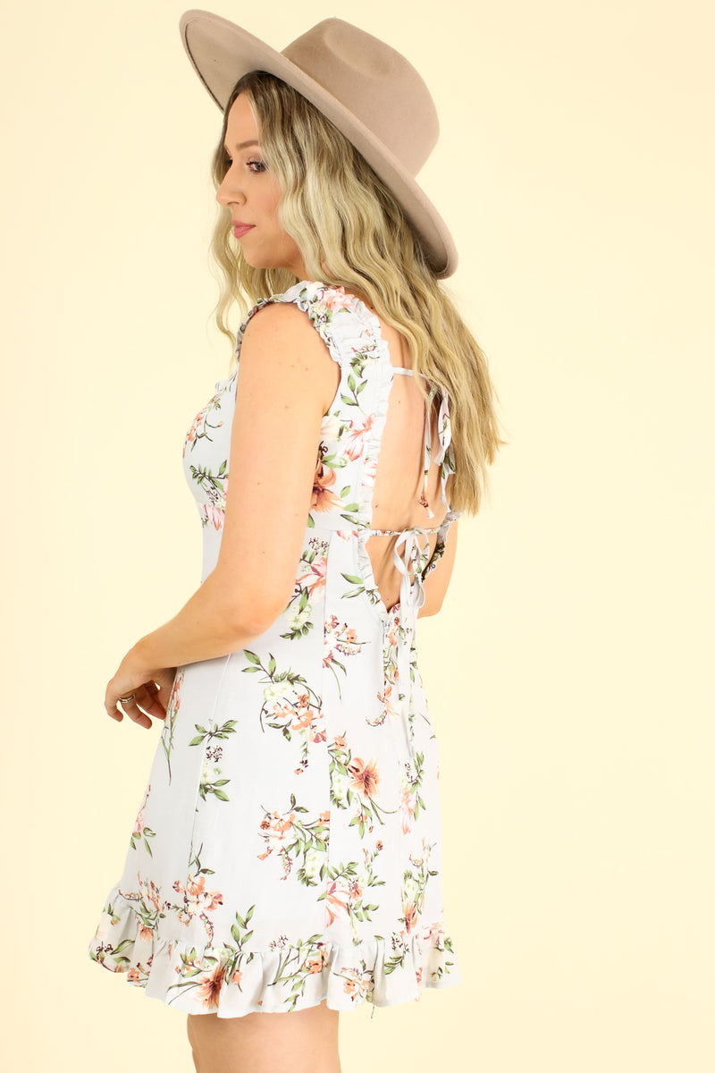 First Date Floral Ruffle Dress - Madison and Mallory