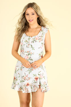 S / Blue First Date Floral Ruffle Dress - Madison and Mallory