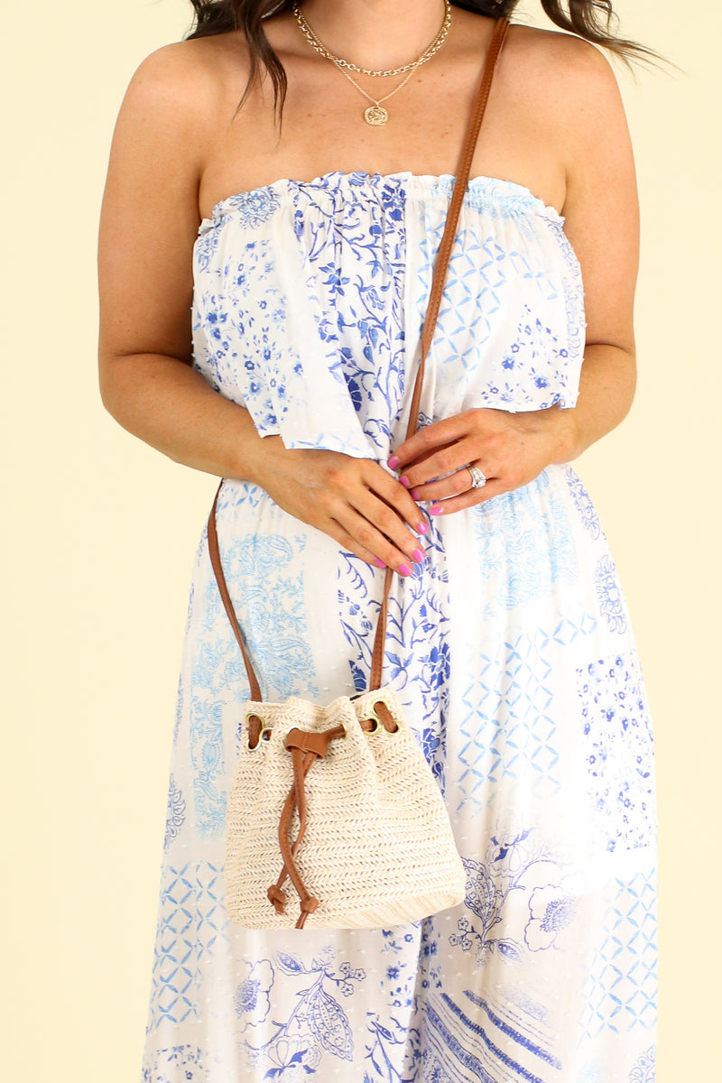 Ivory Playa del Rey Straw Drawstring Crossbody Bag - Madison and Mallory