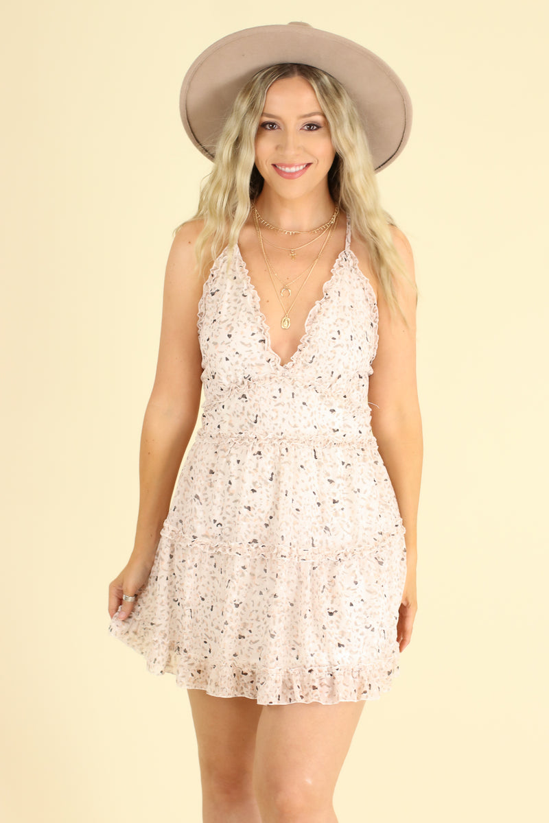 S / Ivory Ruffled Up Printed V-Neck Dress - Madison and Mallory