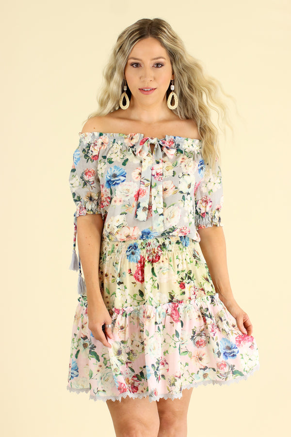 Violetta Off Shoulder Floral Ruffle Dress - Light Gray - FINAL SALE - Madison and Mallory