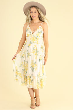 S / Ivory Sensitive Soul Floral Tiered Ruffle Dress - Madison and Mallory
