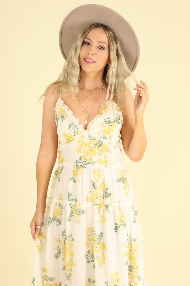 Sensitive Soul Floral Tiered Ruffle Dress - Madison and Mallory