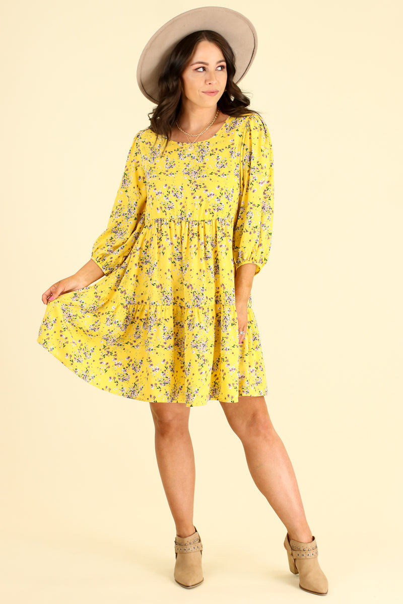 Natural Beauty Floral Print Tiered Dress - Madison and Mallory