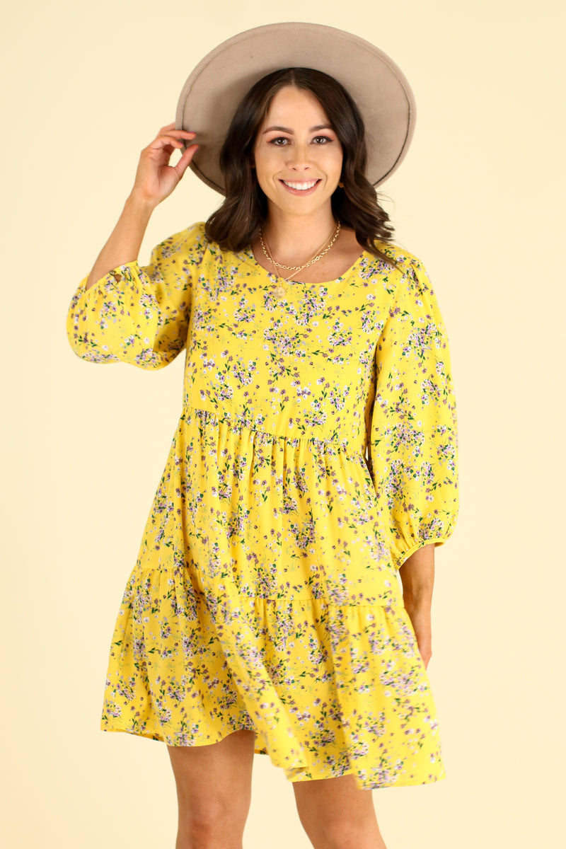 Natural Beauty Floral Print Tiered Dress - FINAL SALE - Madison and Mallory