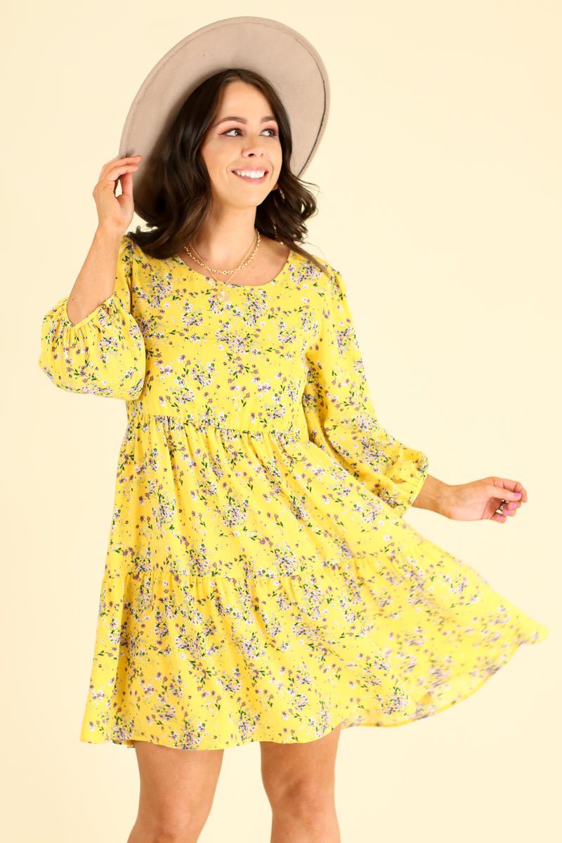 S / Yellow Natural Beauty Floral Print Tiered Dress - Madison and Mallory