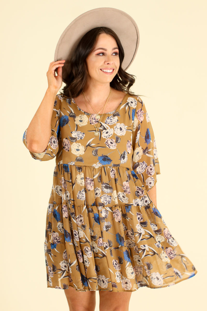 S / Camel Look the Part Floral Tiered Dress - Madison and Mallory