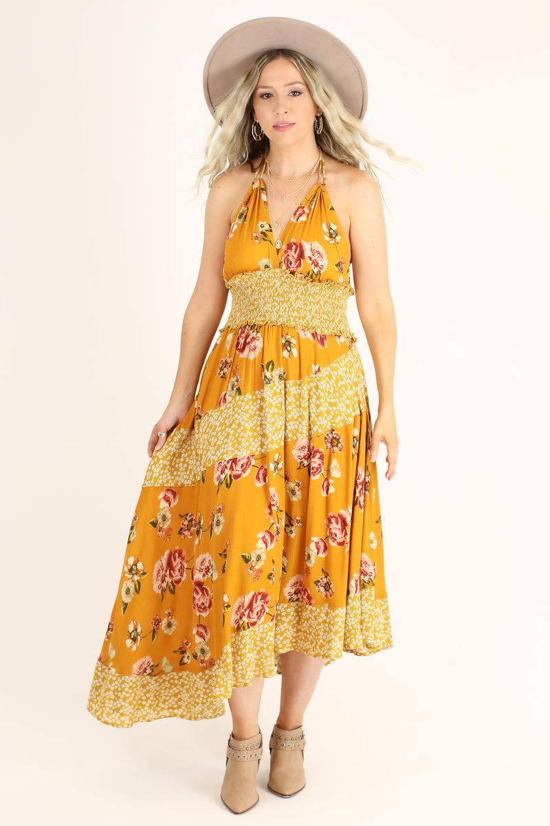 S / Mustard Naya Asymmetric Floral Halter Dress - Madison and Mallory