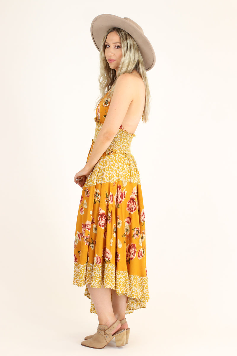 Naya Asymmetric Floral Halter Dress - Madison and Mallory