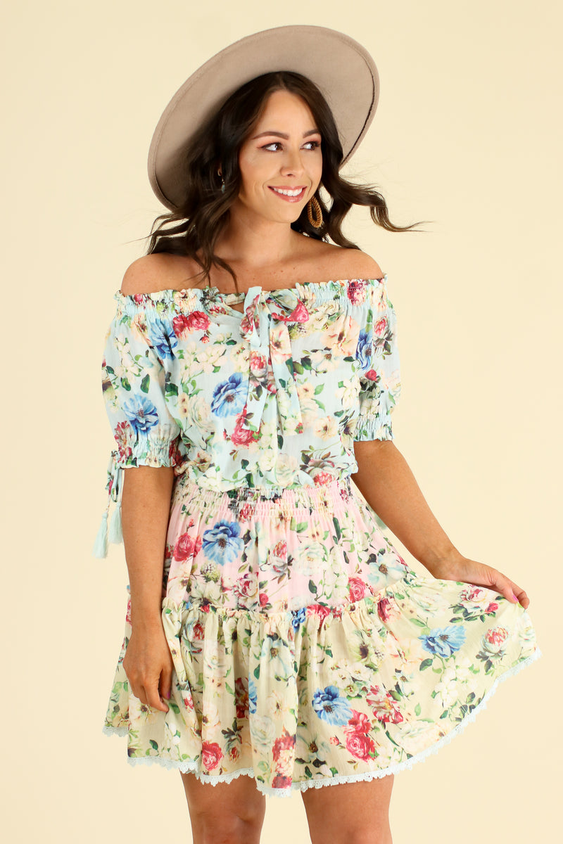 S / Cotton Blue Violetta Off Shoulder Floral Ruffle Dress - Cotton Blue - Madison and Mallory