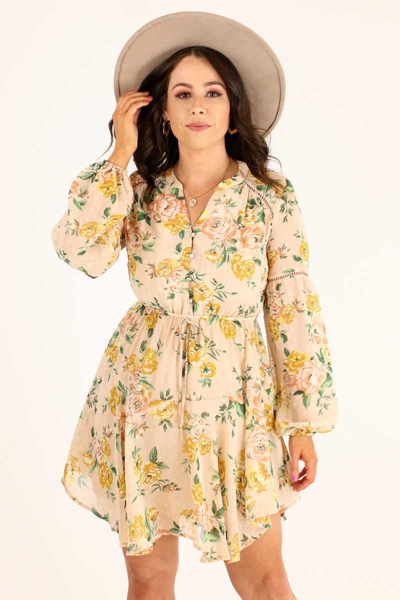 S / Blush Multi Harmonia Flowy Floral Dress - Madison and Mallory