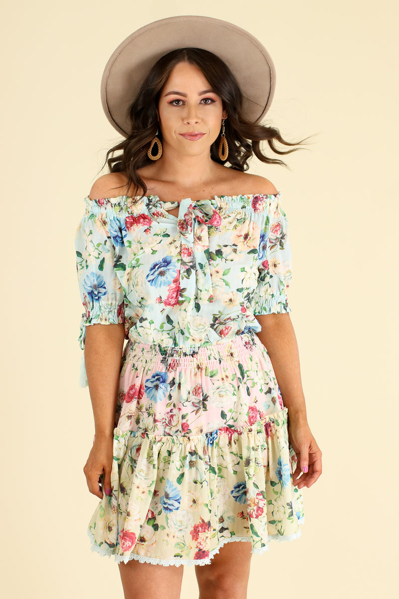 Violetta Off Shoulder Floral Ruffle Dress - Cotton Blue - Madison and Mallory