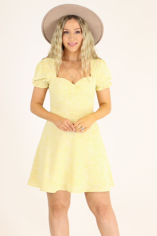 S / Pale Yellow Aphrodite Floral Sweetheart Dress - Madison and Mallory