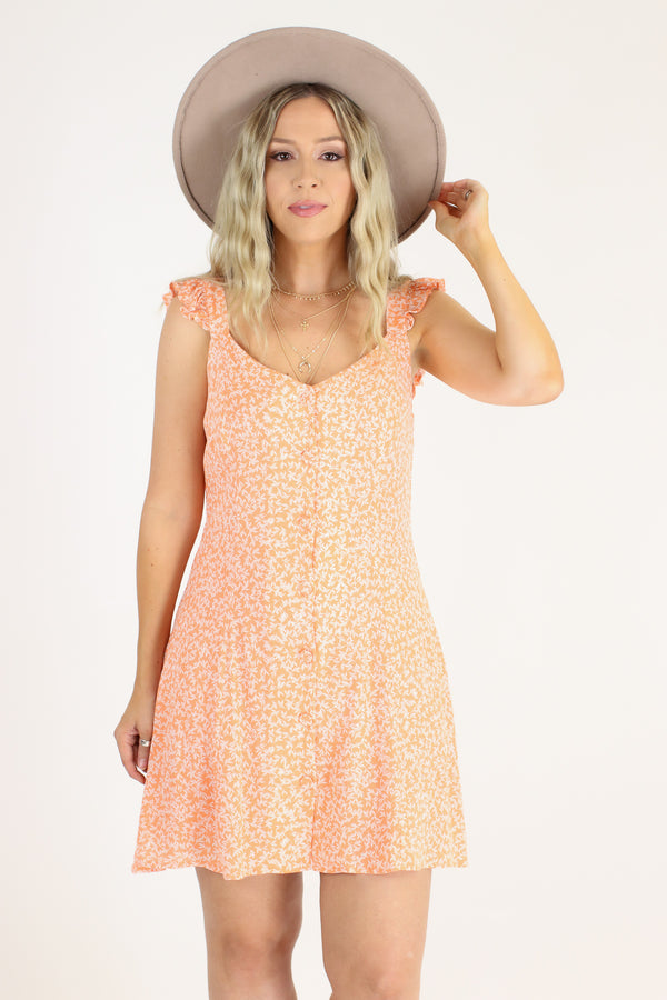 Truer Words Leaf Print Ruffle Dress - FINAL SALE - Madison and Mallory
