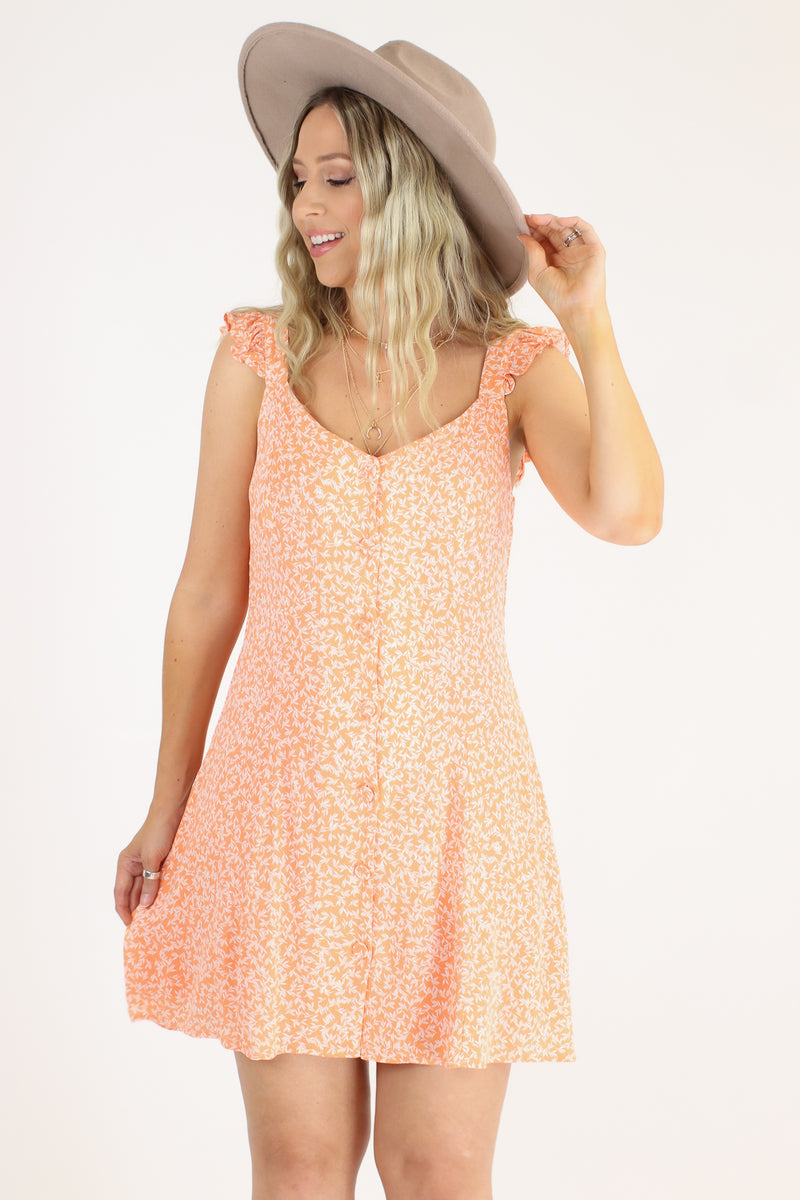 Truer Words Leaf Print Ruffle Dress - Madison and Mallory