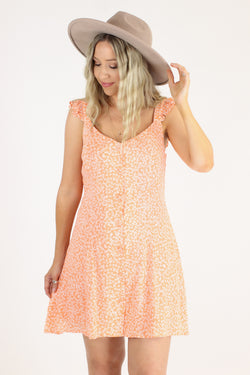 S / Orange Truer Words Leaf Print Ruffle Dress - Madison and Mallory