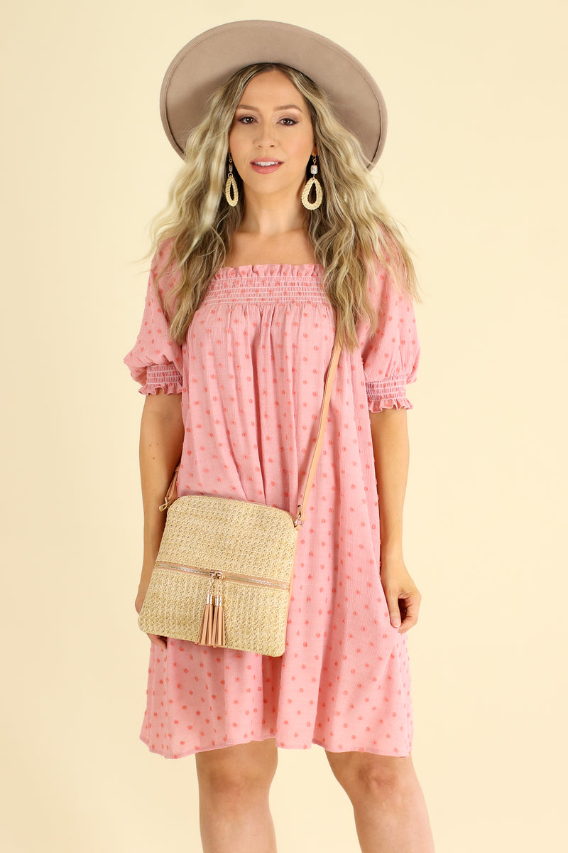 S / Faded Coral Say Something Sweet Swiss Dot Babydoll Dress - Faded Coral - Madison and Mallory
