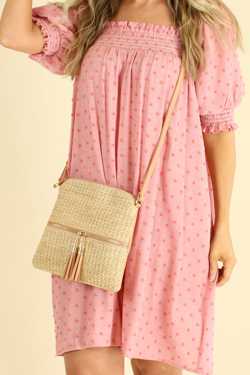 Pink Palmetto Straw Tassel Crossbody Bag - FINAL SALE - Madison and Mallory