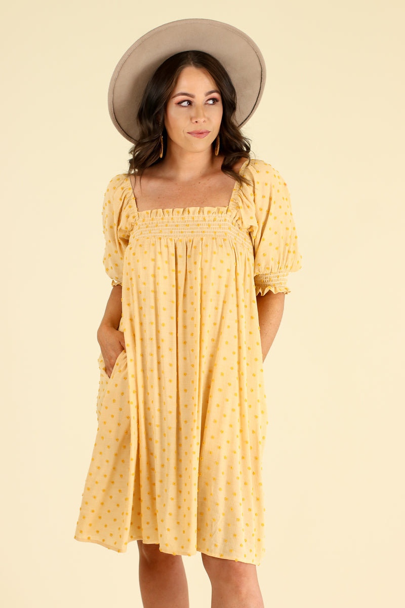 S / Mustard Say Something Sweet Swiss Dot Babydoll Dress - Mustard - Madison and Mallory