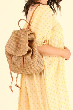 Beige Port Costa Woven Straw Backpack - FINAL SALE - Madison and Mallory