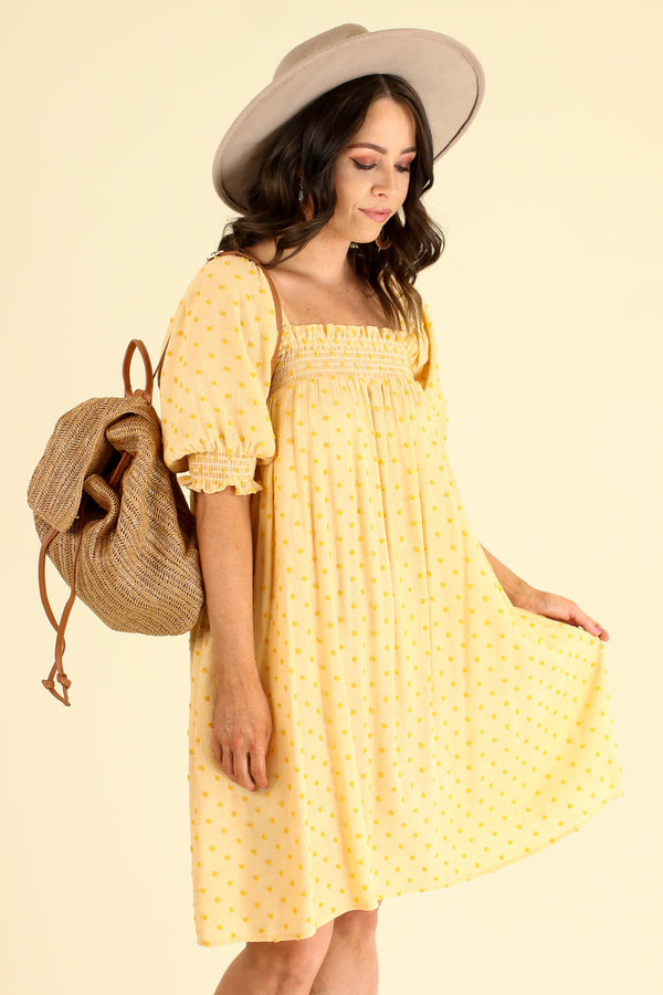 Say Something Sweet Swiss Dot Babydoll Dress - Mustard - Madison and Mallory