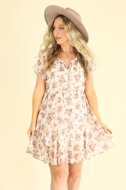 S / Blush Persephone Floral Dress - Madison and Mallory